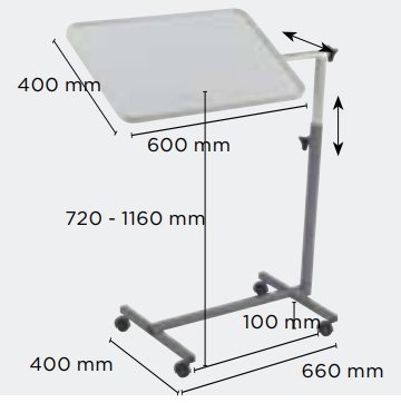 Dimensions table de lit invacare