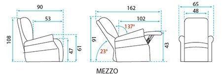 Dimensions fauteuil relaxation Mezzo