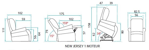 Dimensions fauteuil releveur New Jersey